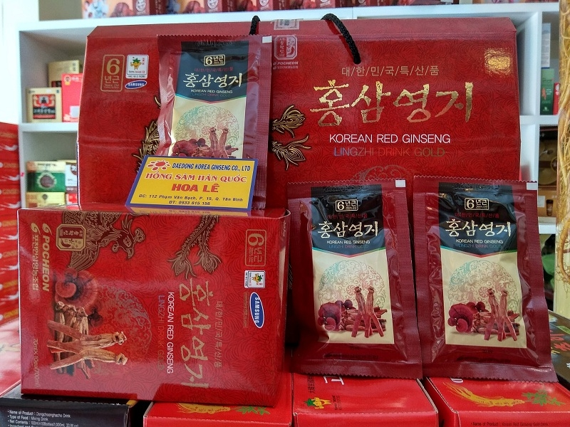 Nước hồng sâm Linh chi Pocheon Hàn Quốc- Korean Red Ginseng Lingzhi Drink Gold